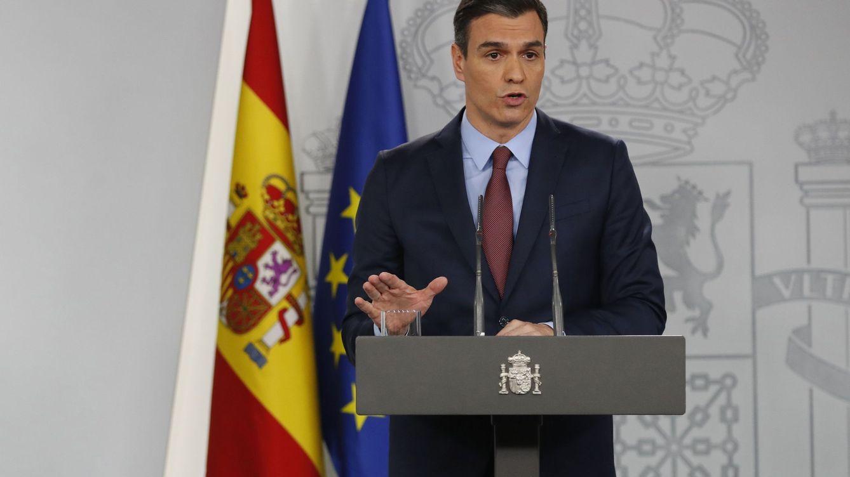 Foto: El presidente del Gobierno, Pedro Sánchez, durante la rueda de prensa en La Moncloa. (Efe)