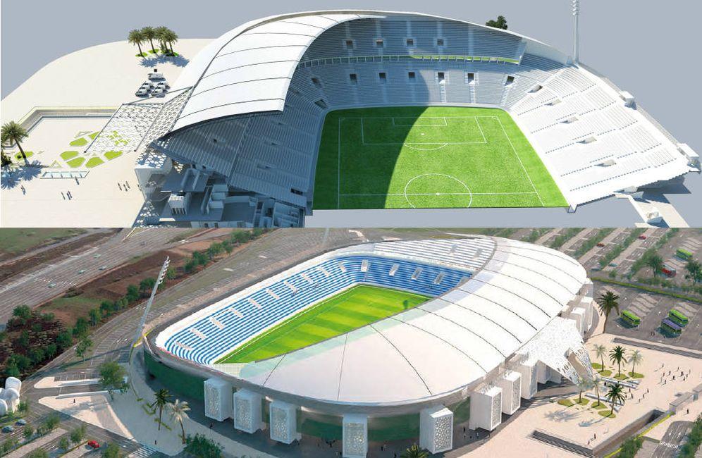 Foto: Arriba, el diseño ganador en el concurso del Gran Estadio de Tetuán presentado por Nawfal Bakhat, y abajo el original de Carlos Lamela