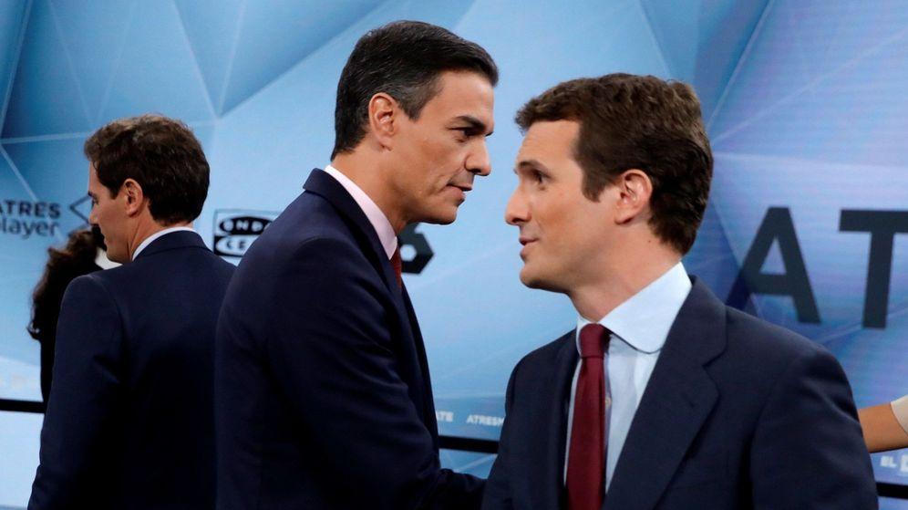 Foto: Rivera, Sánchez y Casado, en el debate de Atresmedia.