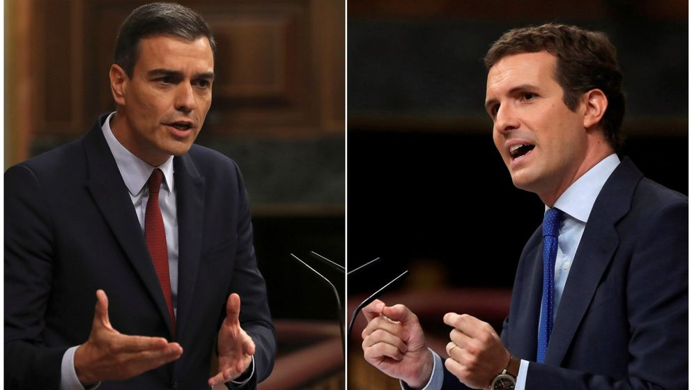Foto: El presidente del Gobierno en funciones, Pedro Sánchez (i), y el presidente del Partido Popular, Pablo Casado, durante sus intervenciónes en el debate de investidura. (EFE)