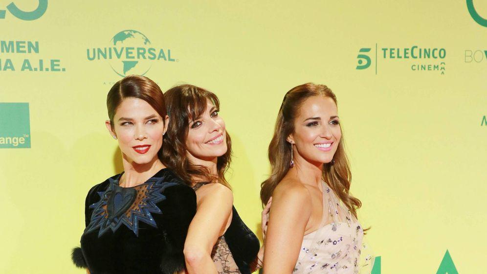 Foto: Juana, Maribel y Paula Echevarría, en la presentación de 'Ola de crímenes'. (Cordon Press)