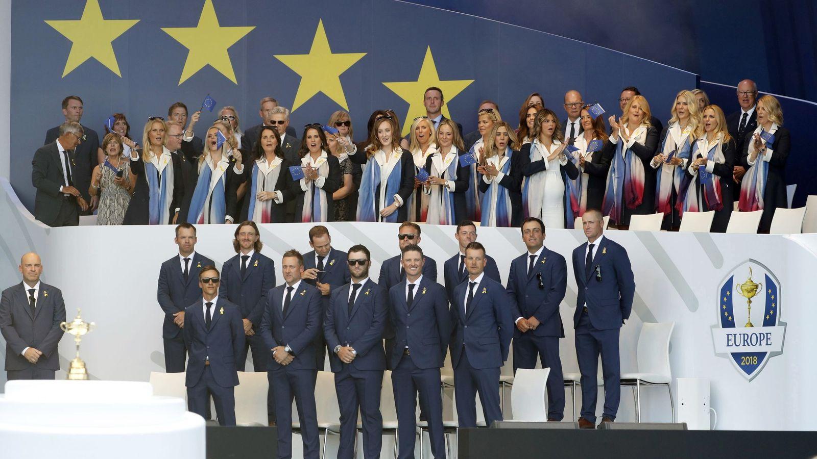 Foto: El equipo europeo, en la presentación de la Ryder. (EFE)