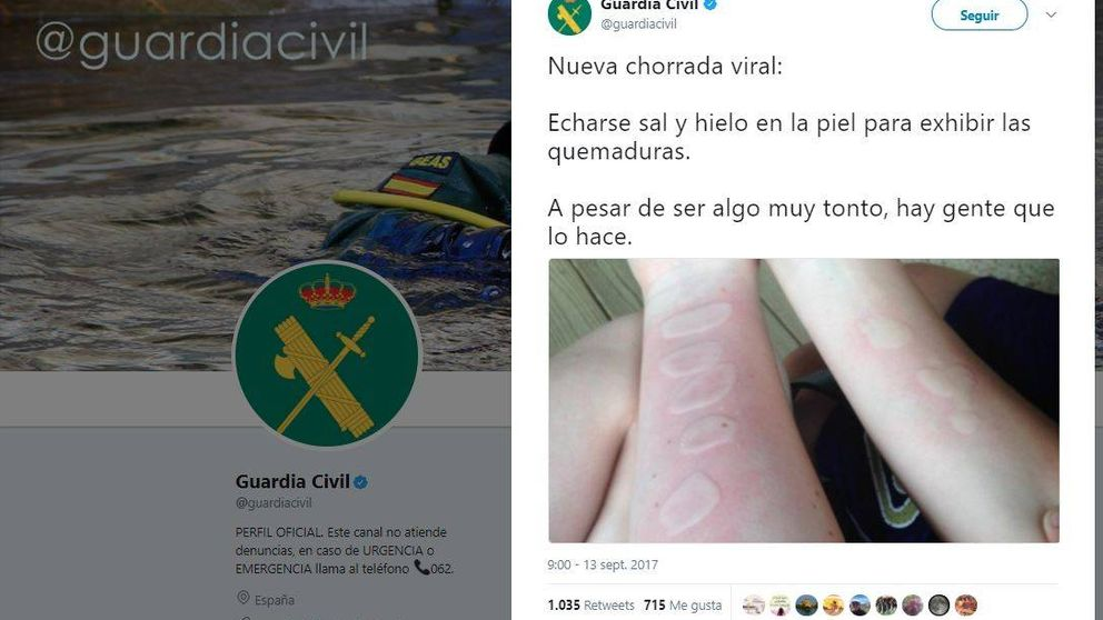 Así ha viralizado en Twitter la Guardia Civil un peligro que ni ha llegado a España