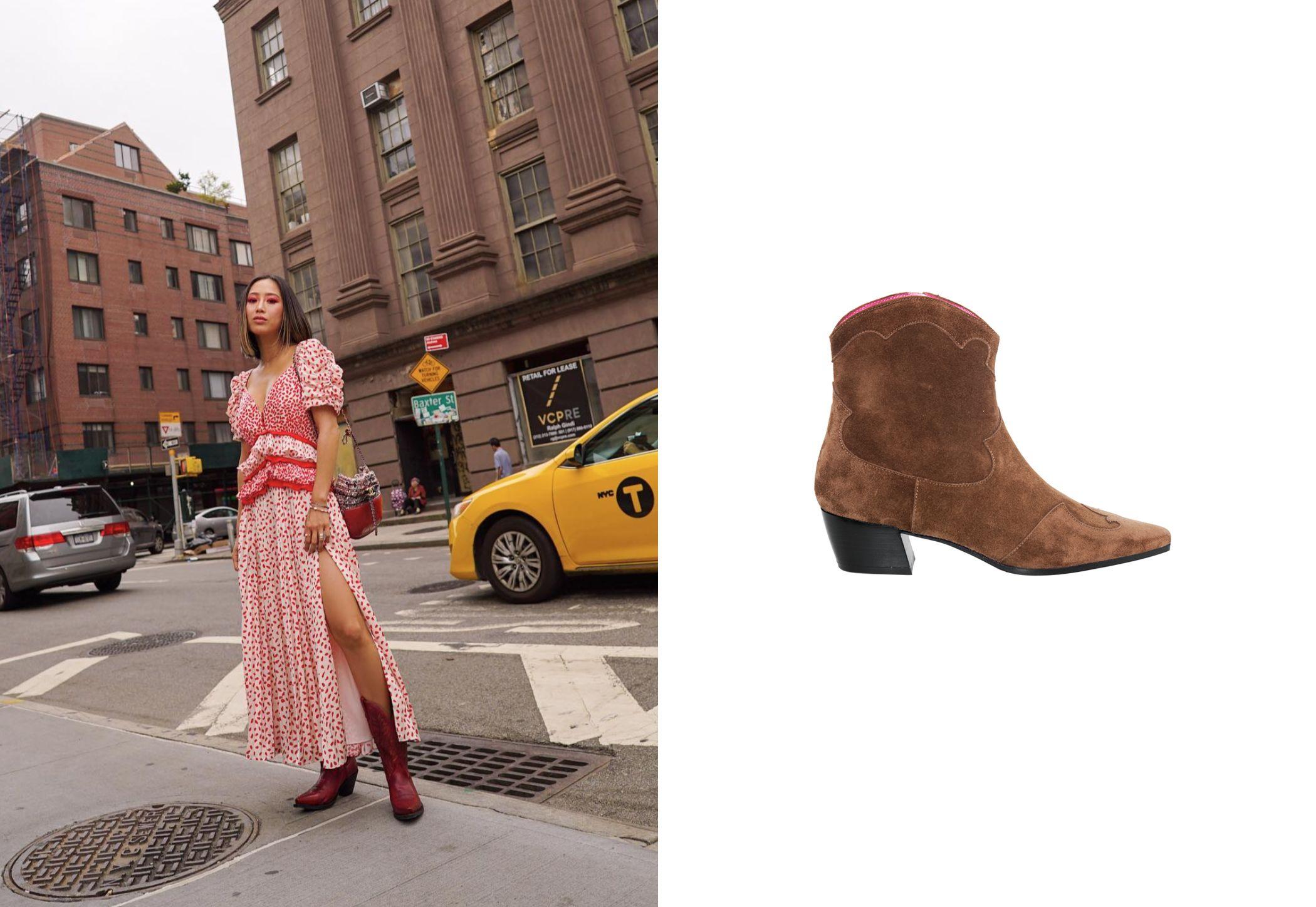 De izq a dcha: Aimee Song con botas de caña alta y botines de ante y tacón de 4 cm de Úrsula Mascaró, 295 €. (@songfostyle y cortesía de la marca)
