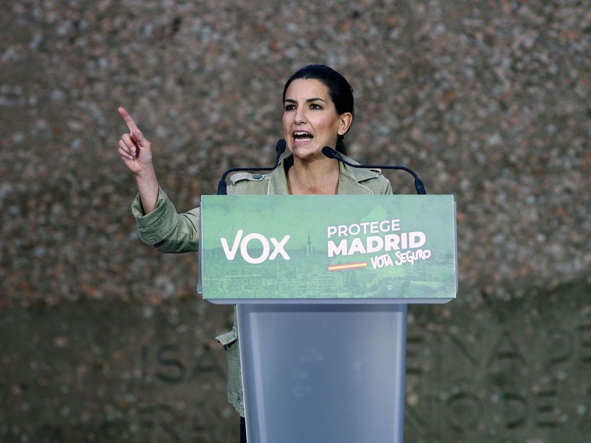 Foto: Rocío Monasterio en el inicio de campaña de Vox (EFE)