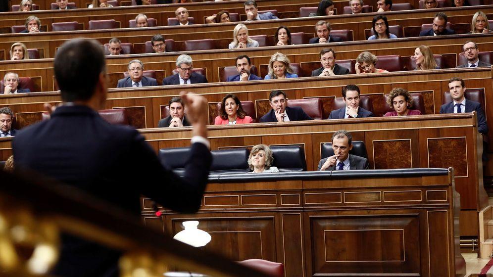 Foto: El presidente del Gobierno, Pedro Sánchez, durante su intervención en la sesión de control al Ejecutivo. (EFE)