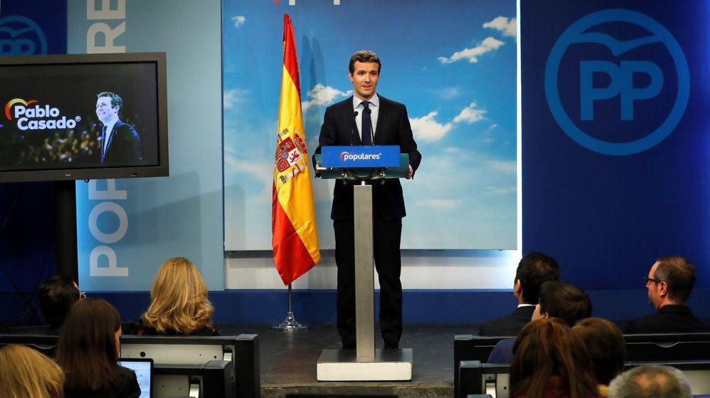 Foto: El líder del PP, Pablo Casado, el pasado 15 de febrero en la sede de su partido. (EFE)