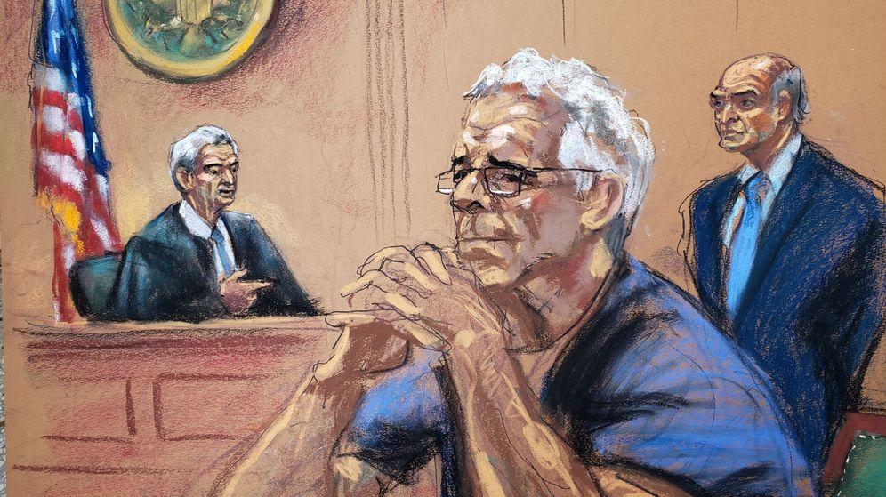 Foto: Dibujo de Jeffrey Epstein durante el juicio por tráfico sexual. (Reuters)