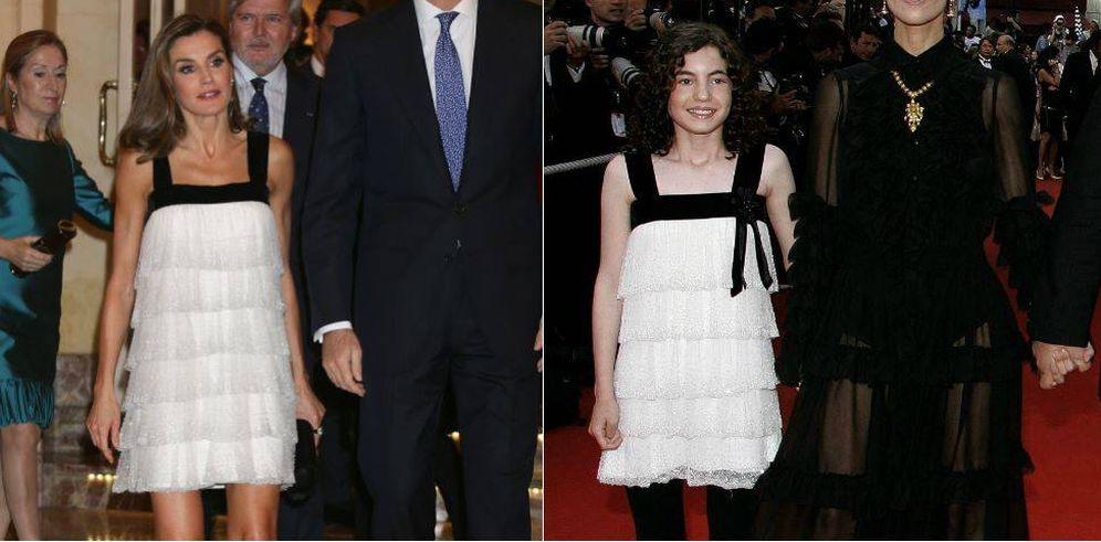 Foto: Letizia e Ivana Baquero con el mismo vestido en un fotomontaje elaborado por Vanitatis.