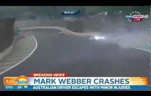 Brutal accidente de Webber en su Porsche