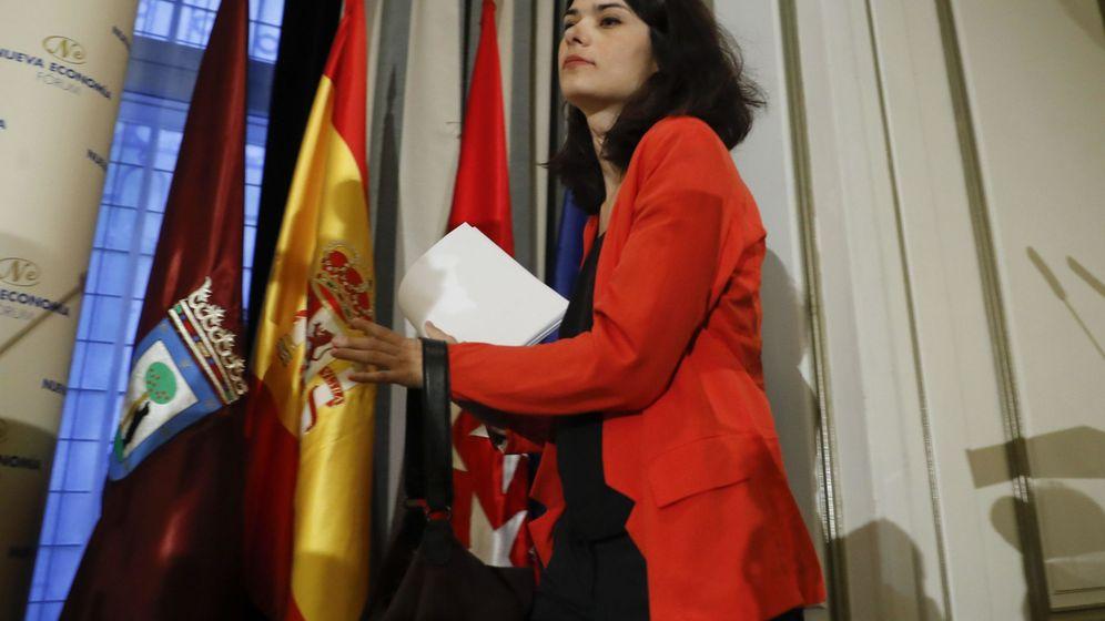 Foto: Isabel Serra, durante un acto de campaña como candidata a la Comunidad de Madrid por Unidas Podemos-Izquierda Unida. (EFE)