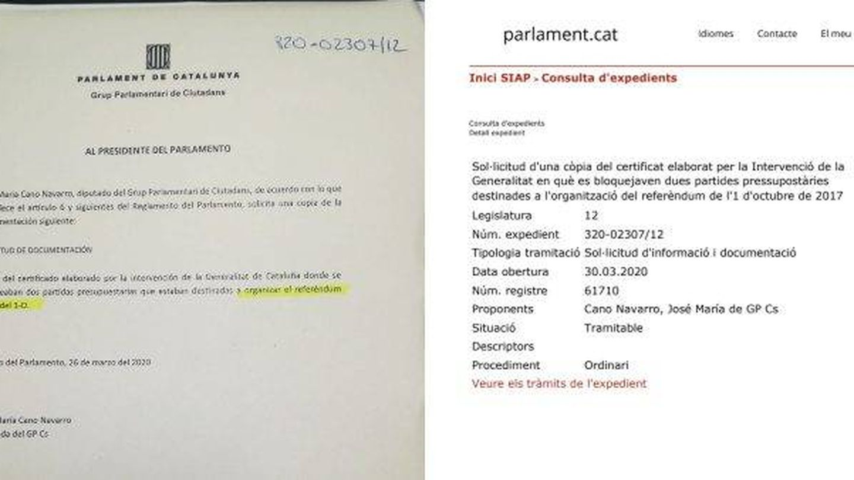 Documento que muestra la 'censura' denunciada por Ciudadanos en el Parlament.