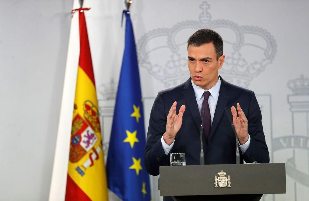 Foto: El presidente del Gobierno, Pedro Sánchez, durante su comparecencia ante los medios de este 15 de febrero. (EFE)