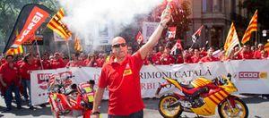Los trabajadores de Derbi dan la nota en el Gran Premio de Montmeló