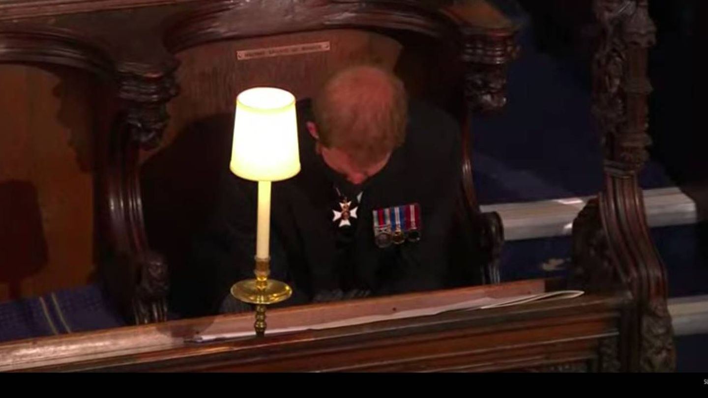 El príncipe Harry, durante el funeral del duque de Edimburgo. (Youtube Casa Real británica)