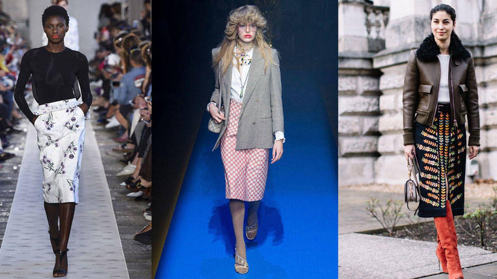 Foto: Imágenes de pasarela de Max Mara y Gucci. A la derecha, Caroline Issa con falda y cazadora. (Foto: Imaxtree)