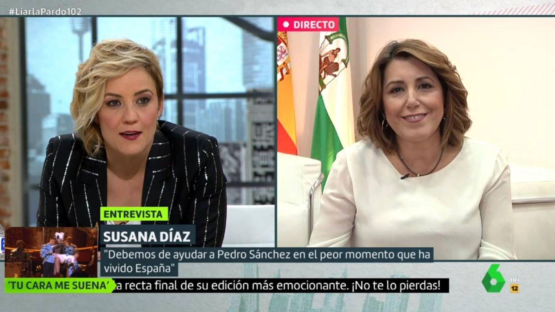 Cristina Pardo hace sudar a Susana Díaz con este comentario sobre Pedro Sánchez