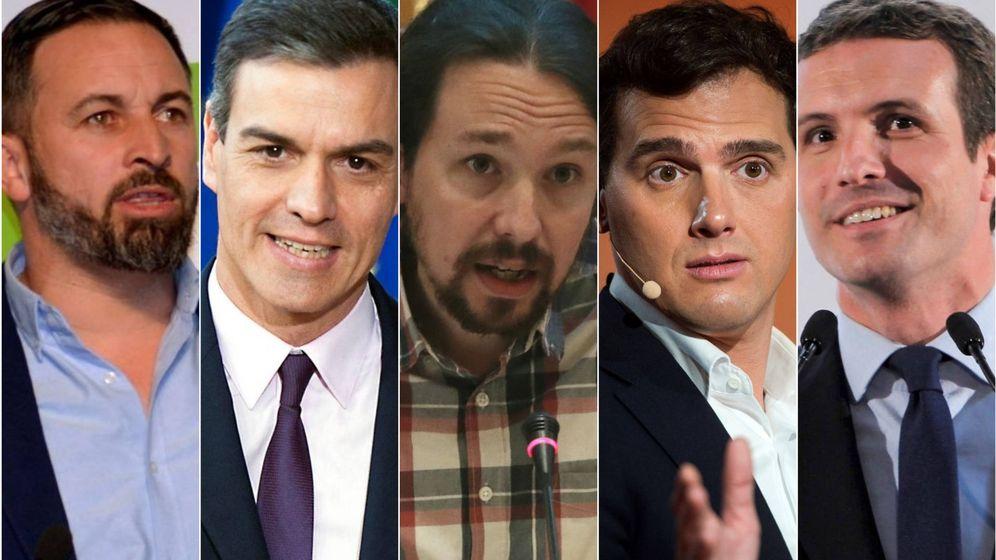 Foto: Santiago Abascal, Pedro Sánchez, Pablo Iglesias, Albert Rivera y Pablo Casado. (El Confidencial)