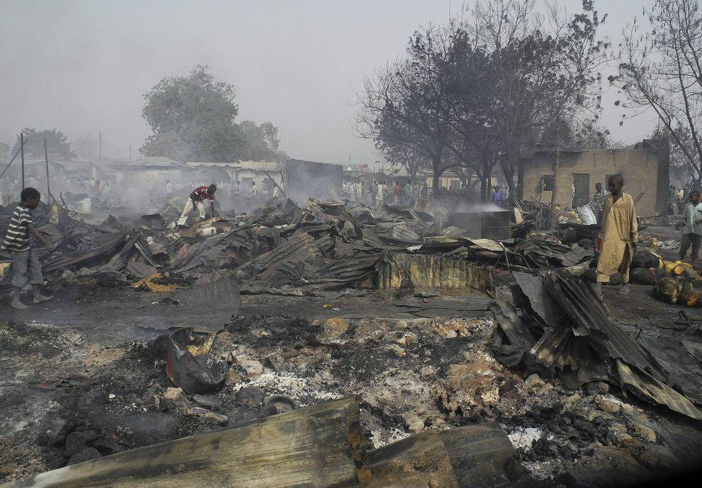Escenario de un atentado en Nigeria reivindicado por Boko Haram (Reuters).