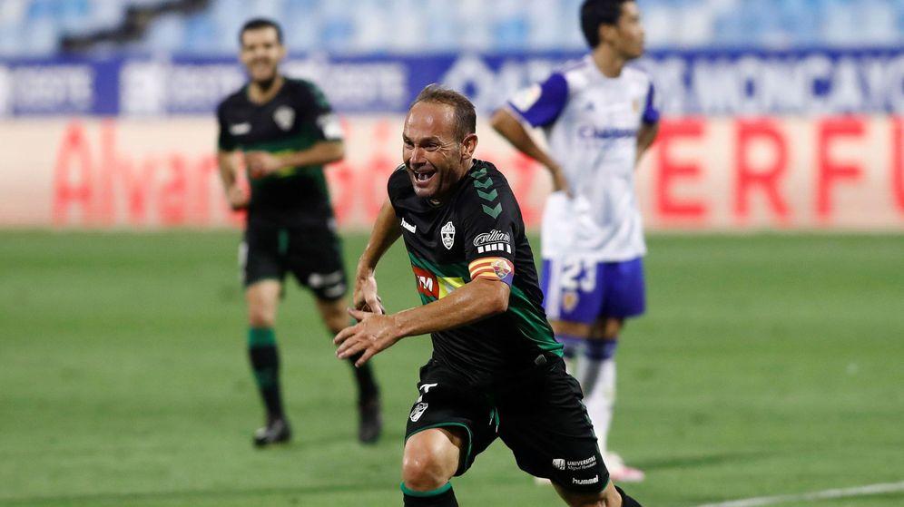 Foto: Nino celebra su gol frente al Zaragoza en los Play-off de ascenso a Primera División. (EFE)