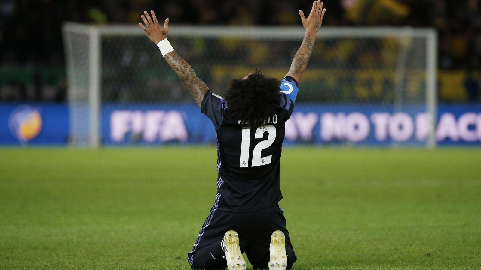 Foto: Marcelo celebra uno de los goles al América (Issei Kato/Reuters).