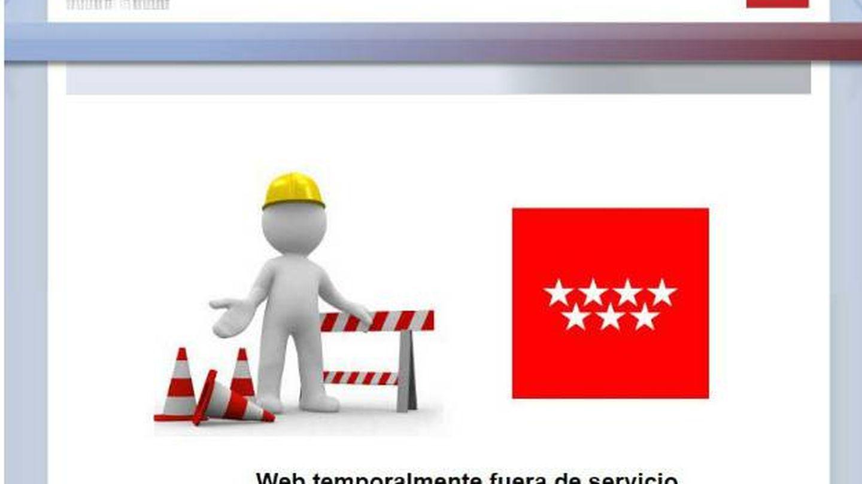 La web de la secretaría virtual se vio interrumpida, mostrando el siguiente mensaje.