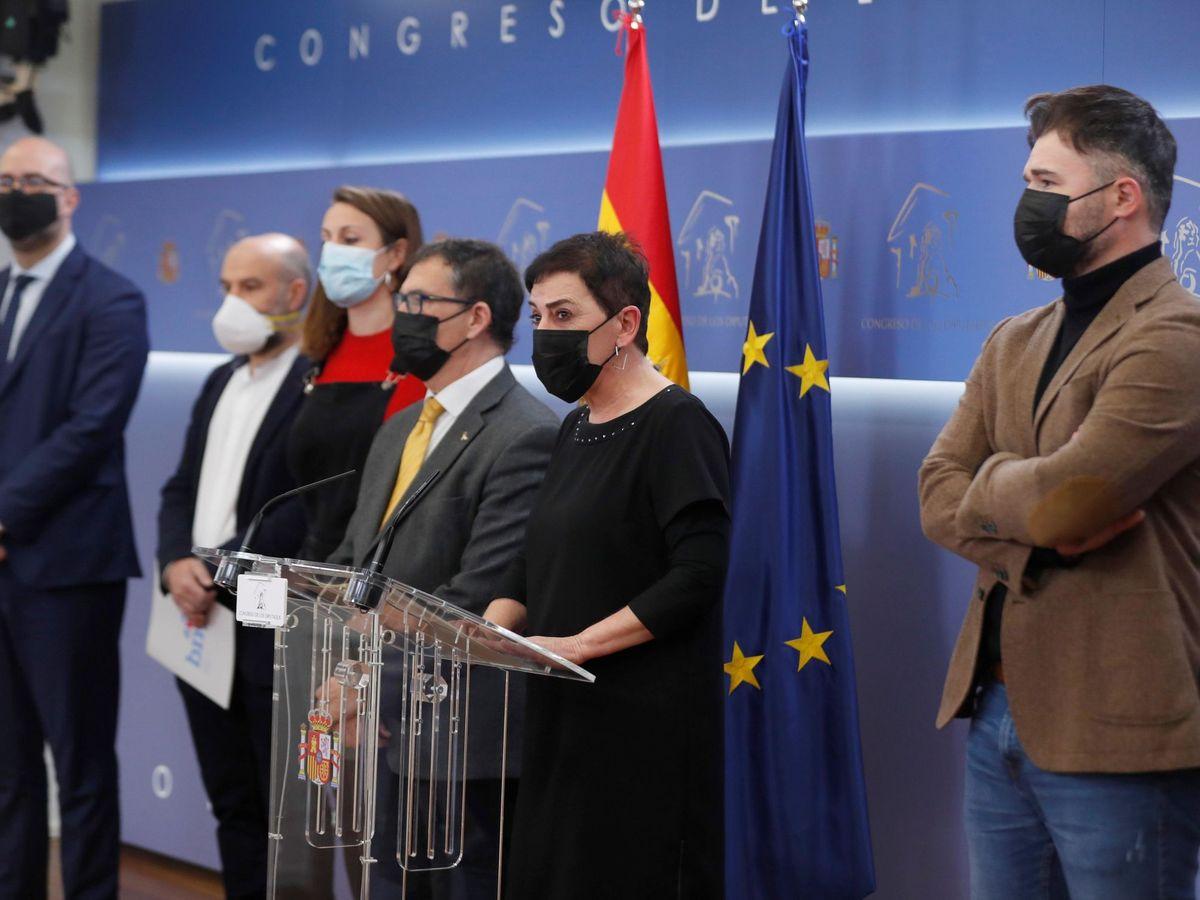 Foto: Rueda de prensa de ERC, EH Bildu, CUP, JuntsxCat y BNG para rechazar la conmemoración del 23-F en el Congreso.