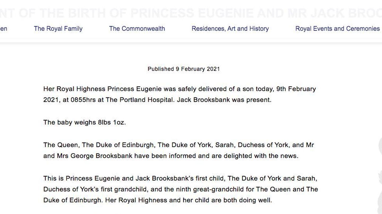 El comunicado oficial de la Casa Real.