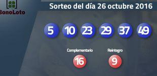 Post de Resultados del sorteo de la Bonoloto del 26 octubre 2016: números 5, 10 , 23, 29, 37, 49