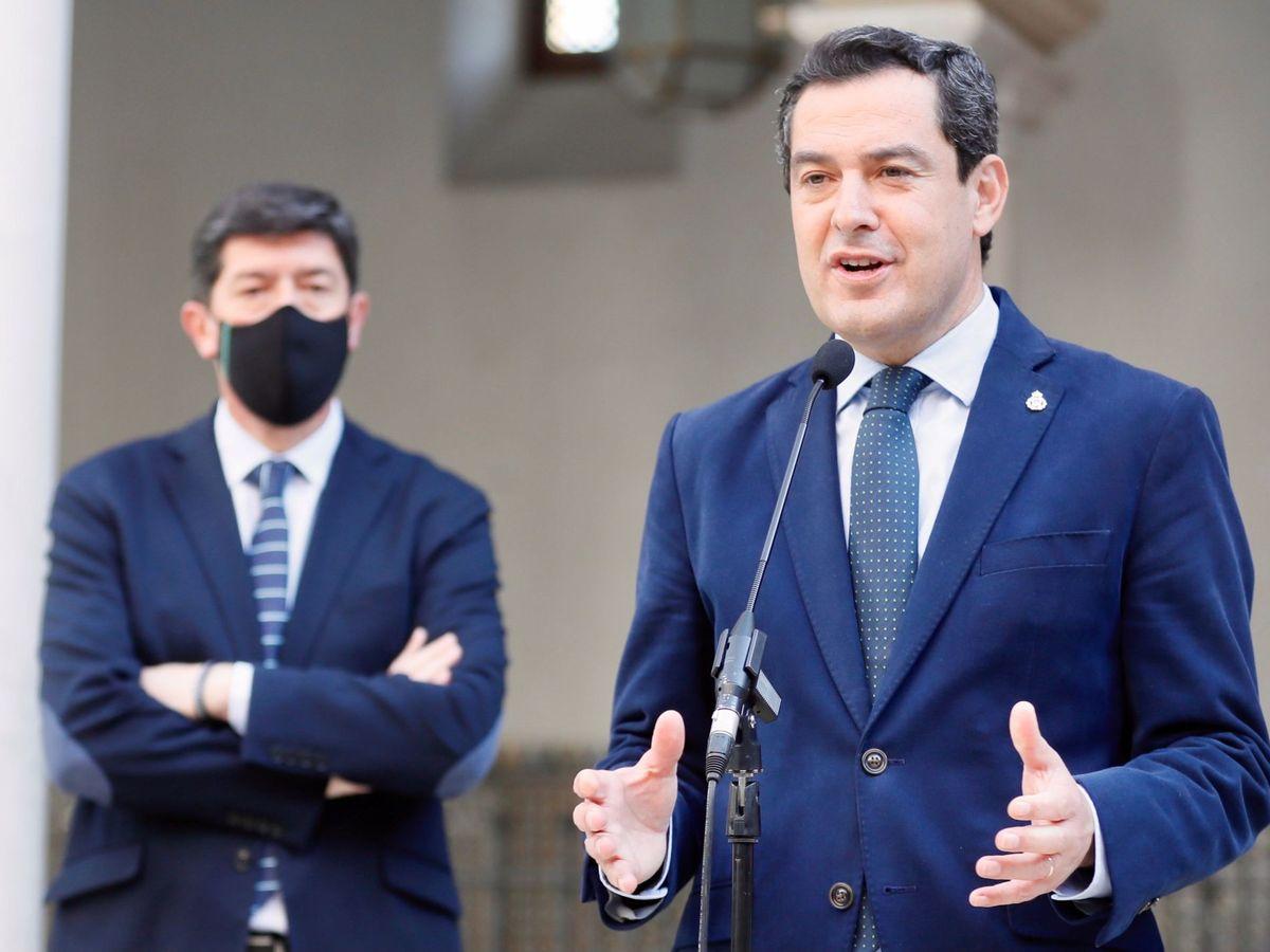 Foto: El presidente andaluz, Juanma Moreno, y el vicepresidente, Juan Marín. (EFE)