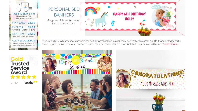 Página web de 'Party Pieces' con el polémico anuncio de la pancarta.