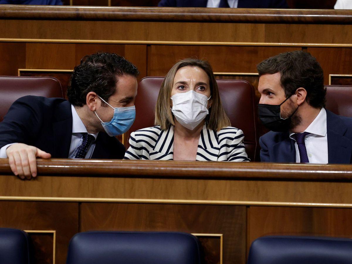 Foto: Pablo Casado, Teodoro García Egea y Cuca Gamarra. (EFE)