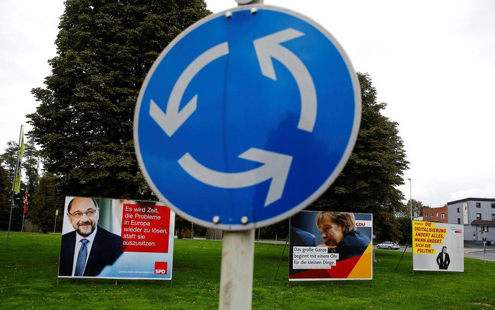 Foto: Carteles electorales de Angela Merkel (CDU) y Martin Schulz (SPD), en Bonn, Alemania. (Reuters)