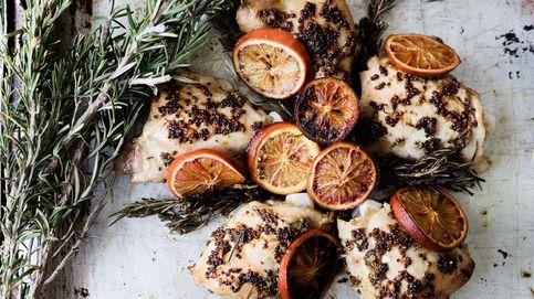 Contramuslos de pollo con naranja sanguina y romero