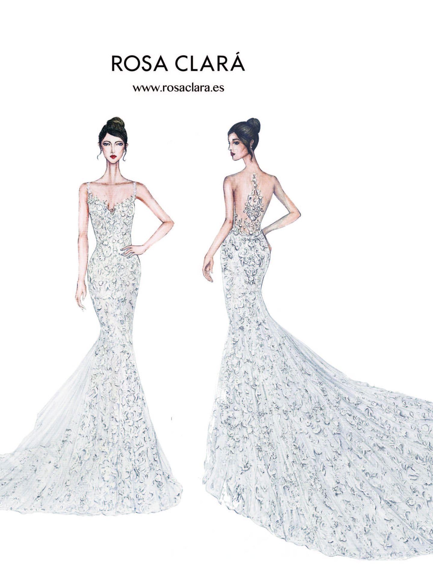Boceto del diseño que ha lucido Antonella Rocuzzo en su boda