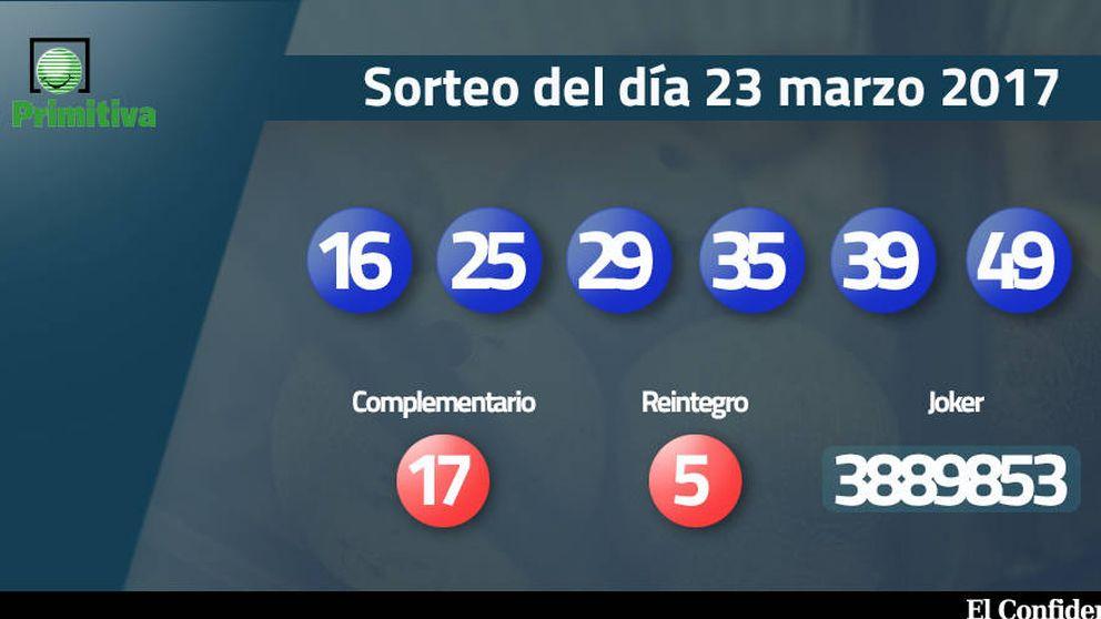 Resultados de la Primitiva del 23 marzo 2017: números 16, 25, 29, 35, 39, 49