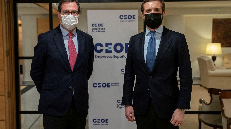 Pablo Casado y el líder de la CEOE, Antonio Garamendi, en un encuentro. (EFE)