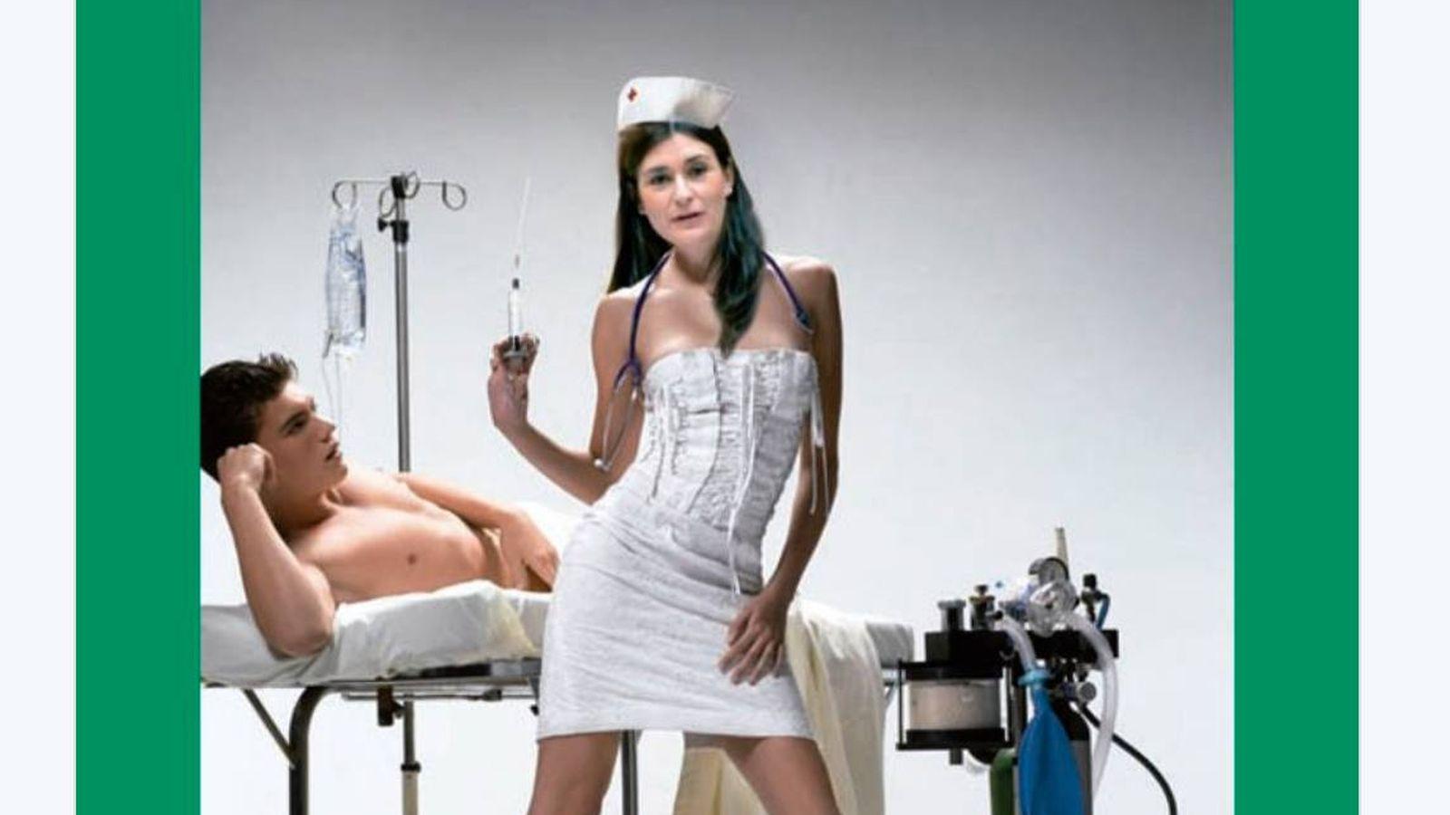 Foto: El avance del calendario de la Cartelera Turia muestra a Carmen Montón como enfermera con Corsé.