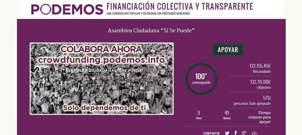 Foto: Crowdfunding de la asamblea ciudadana de Podemos. (Podemos.info)