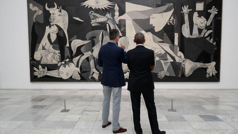 Foto: Felipe VI y Barack Obama frente al Guernica de Picasso en el Reina Sofía. (EFE)