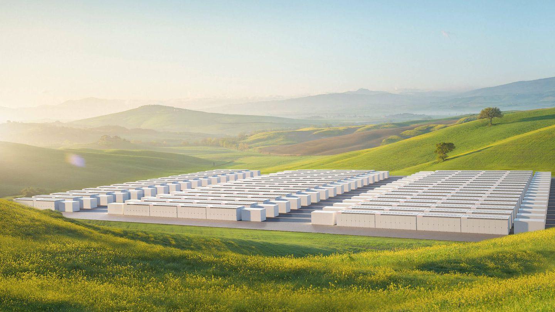 Render del proyecto de 1 GWh en el norte de California (Tesla)