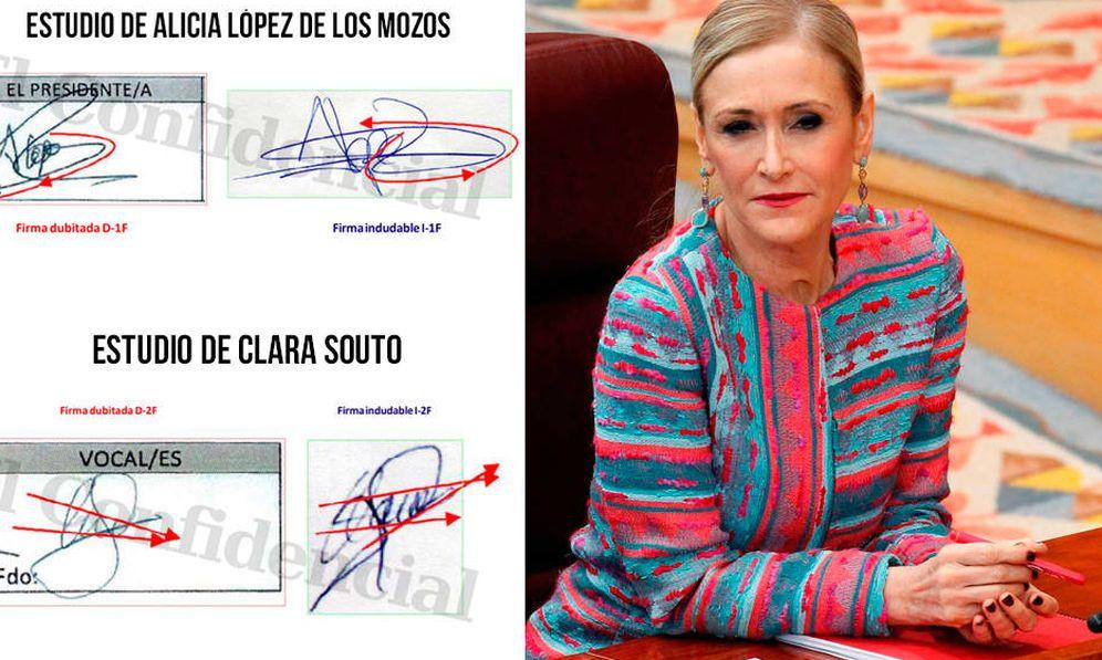 Foto: Algunos detalles del dictamen pericial caligráfico. (EC)