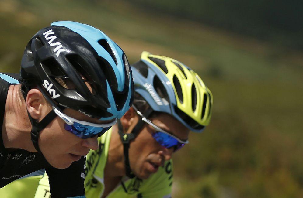 Foto: Chris Froome y Alberto Contador, en pleno esfuerzo. (EFE)