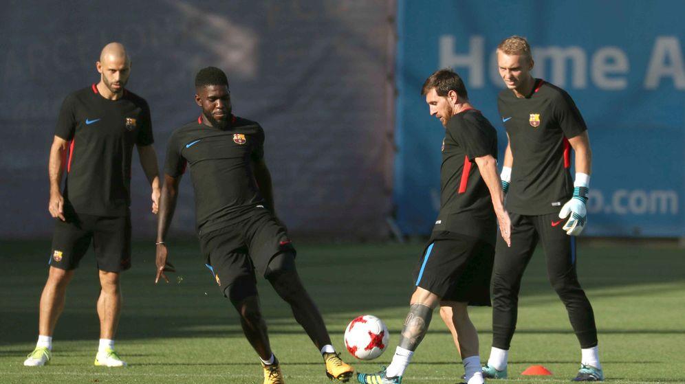 Foto: Messi, en el último entrenamiento. (EFE)
