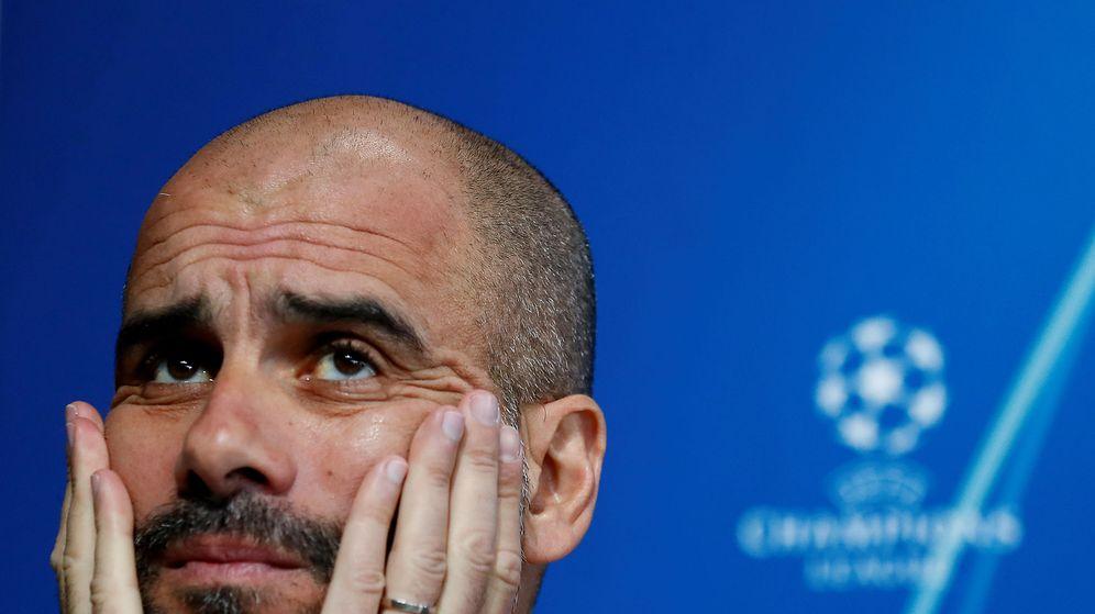 Foto: Pep Guardiola durante una conferencia de prensa en un partido de la Champions. (Efe)