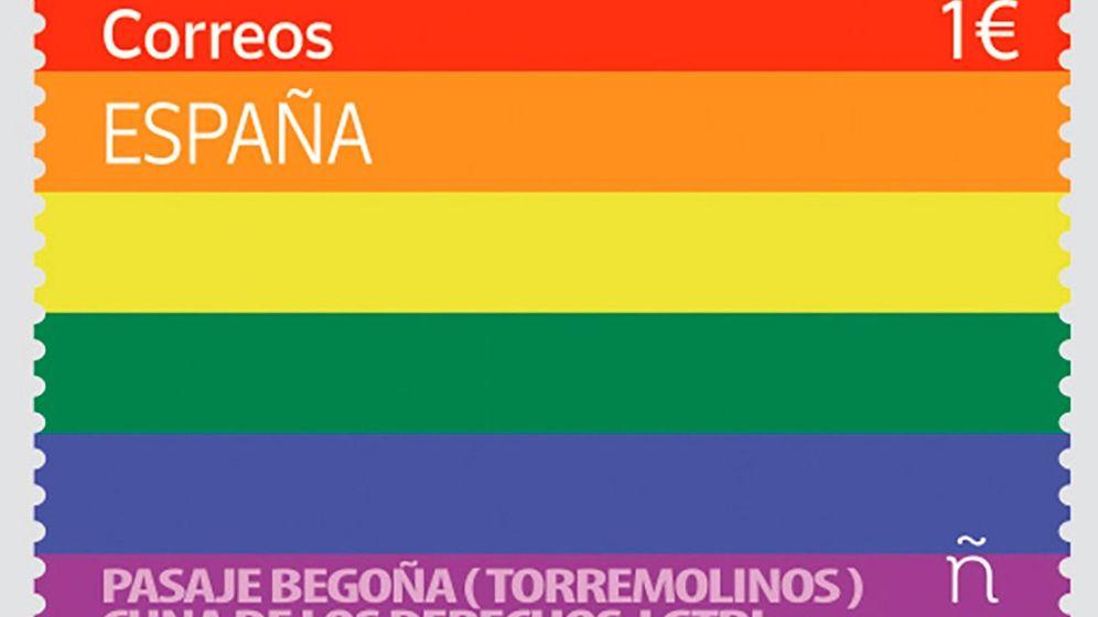 Foto: Sello de correos con motivo del Día del Orgullo LGTBI del 28 de junio. (EFE)