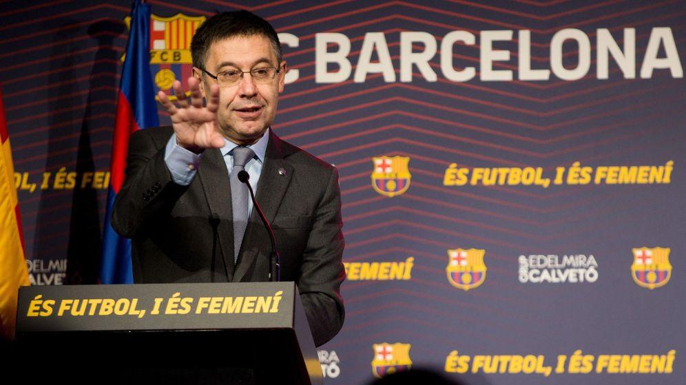 Foto: El presidente del Barcelona, Josep María Bartomeu, en una presentación. (EFE)