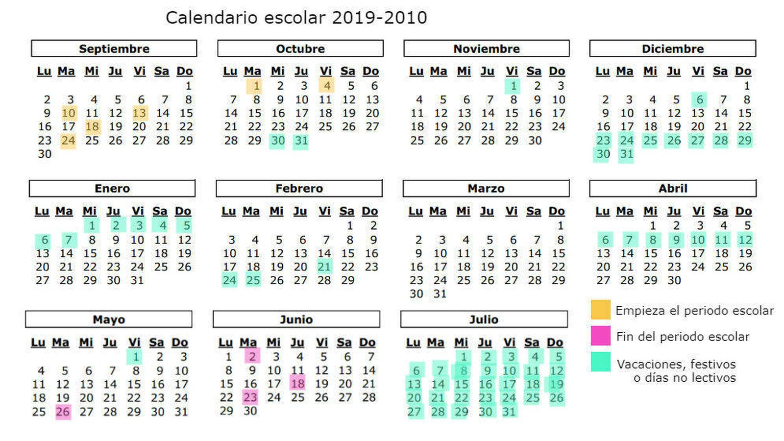 Calendario Laboral Castilla Y Leon 2020.Calendario Escolar 2019 2020 En Asturias Dias Festivos Y Vacaciones