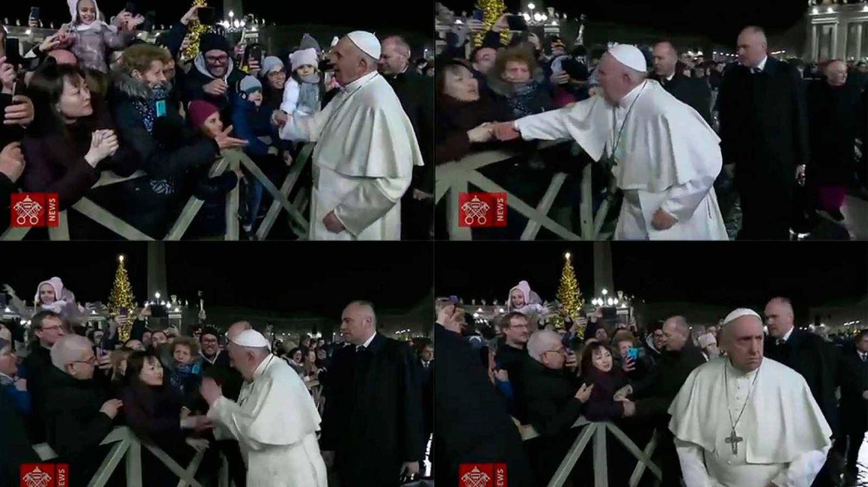 Foto: Imágenes del momento en el que el Papa reprende a la mujer.