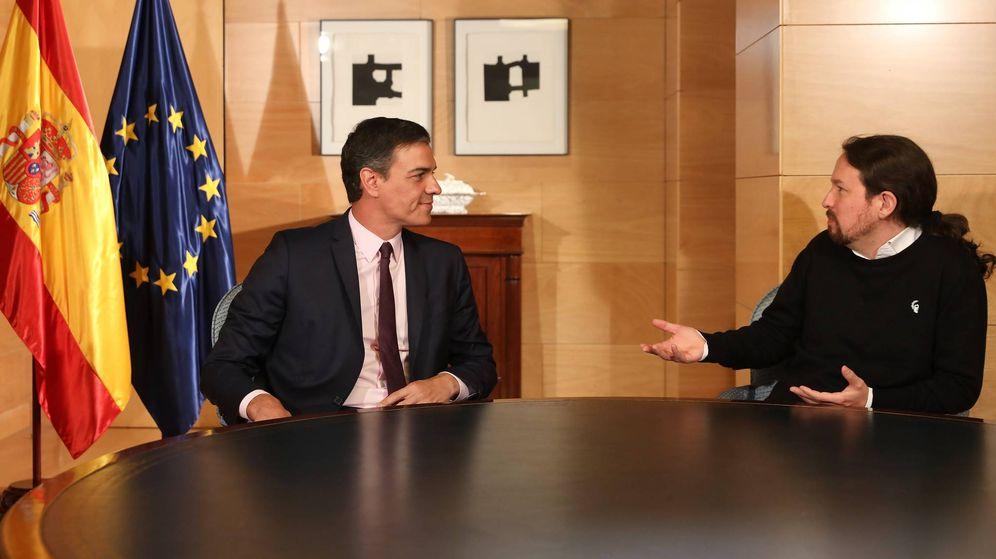 Foto: Pedro Sánchez y Pablo Iglesias, durante su reunión en el Congreso de los Diputados, este 11 de junio de 2019.